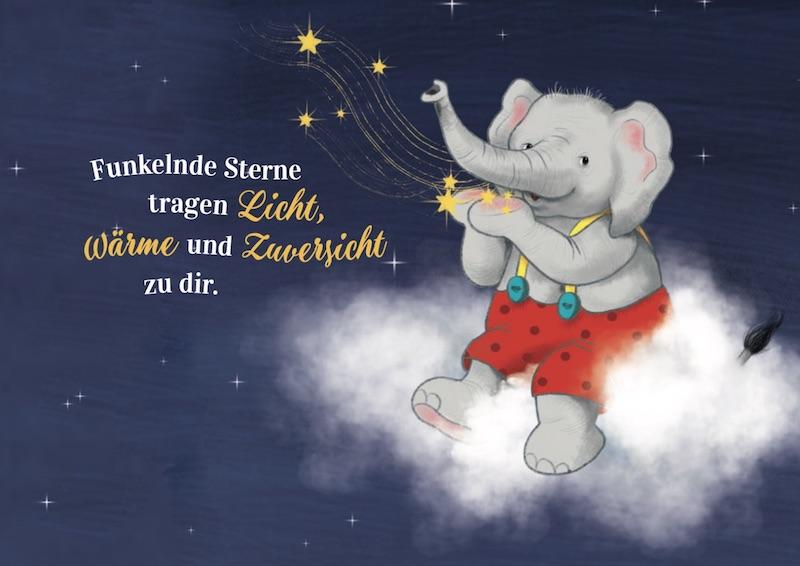 Elefant sitzt auf einer Wolke im Sternenhimmel